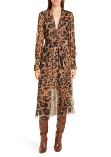 Oscar de la Renta Leopard Print Silk Long Sleeve Midi Dress