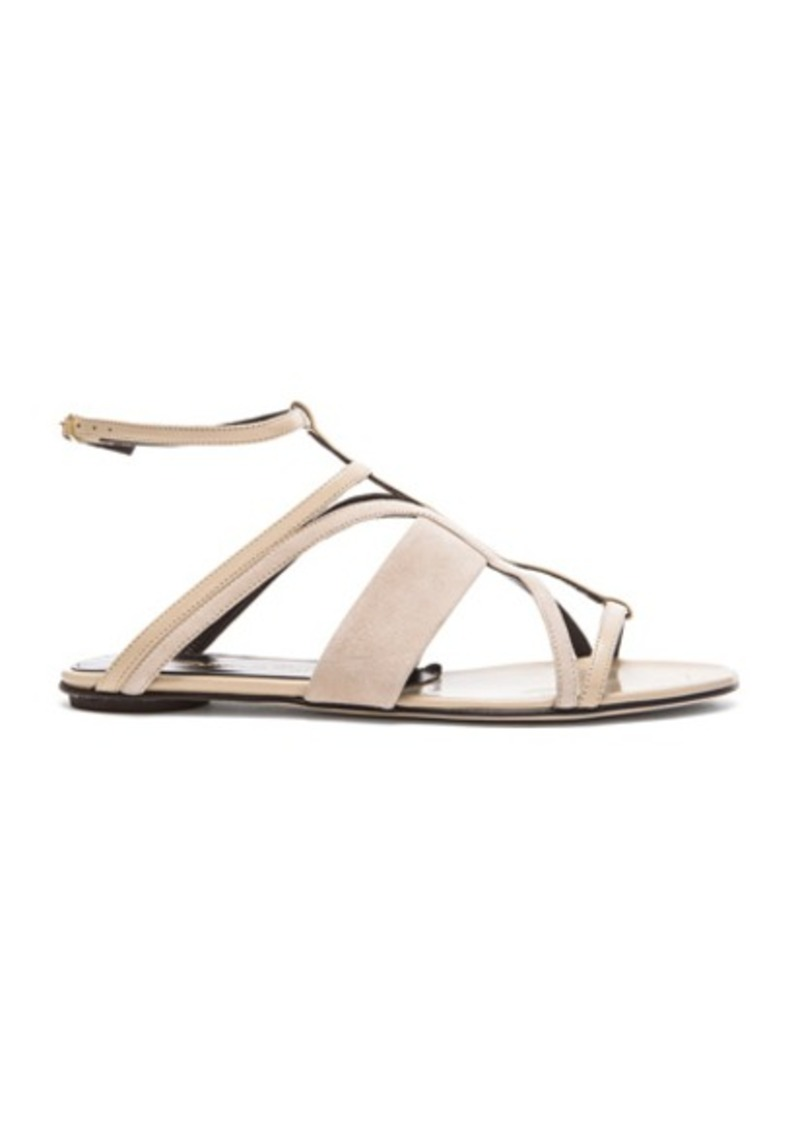 Oscar de la Renta Lexina Patent Leather & Suede Sandals
