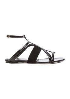 Oscar de la Renta Lexina Patent Leather & Suede Sandals