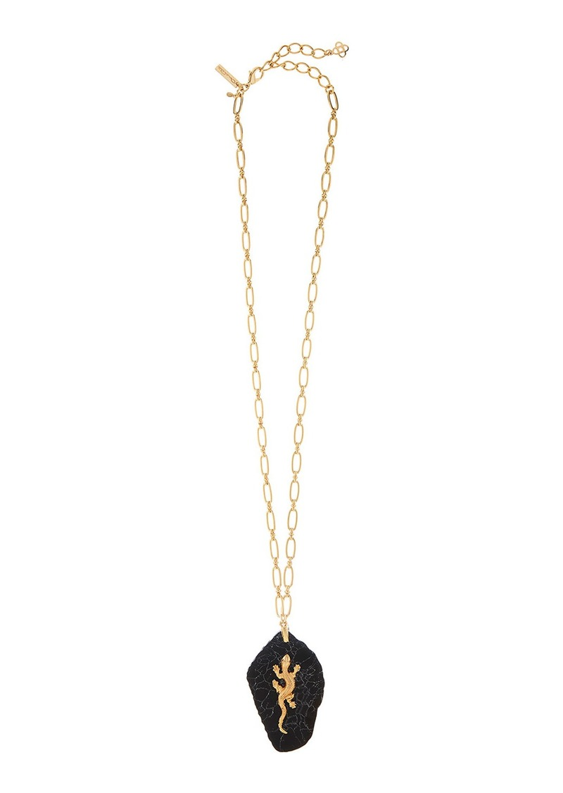 Oscar de la Renta Lizard-Stone Long Pendant Necklace