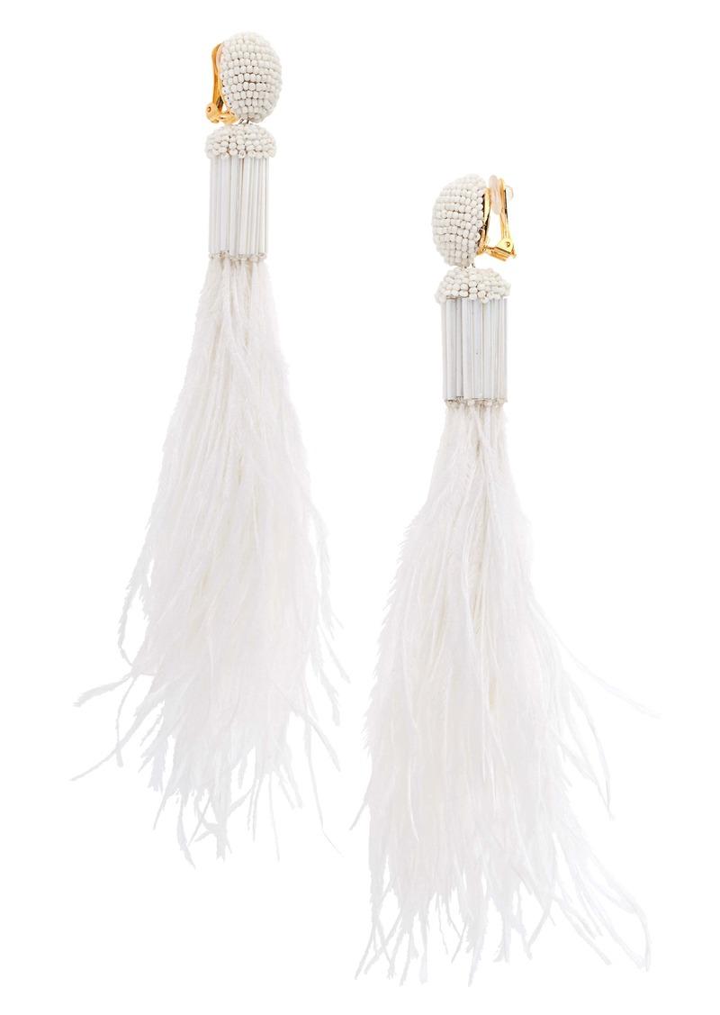 Oscar de la Renta Long Beaded Feather Earrings