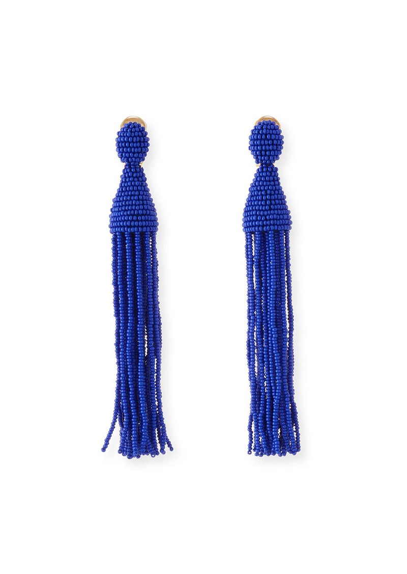 Oscar de la Renta Long Beaded Tassel Clip-On Earrings  Blue