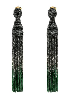 Oscar de la Renta Long Ombre Beaded Tassel C Earrings