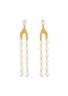 Oscar de la Renta Long Pearly Drop Earrings