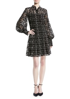 Long-Sleeve Button-Down Plaid-Lace Dress