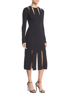Oscar de la Renta Long-Sleeve Cutout Wool Knit Midi Cocktail Dress w/ Carwash Hem