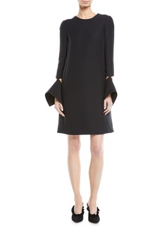 Oscar de la Renta Long-Sleeve Dress with Detached Brooch Cuffs