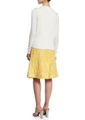 Oscar de la Renta Long-Sleeve Floral-Embroidered Cardigan