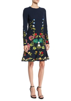 Oscar de la Renta Long-Sleeve Floral-Embroidered Fit-and-Flare Knit Dress
