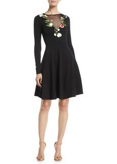 Oscar de la Renta Long-Sleeve Floral-Embroidered Sheer V-Neck Fit-and-Flare Stretch-Wool Dress