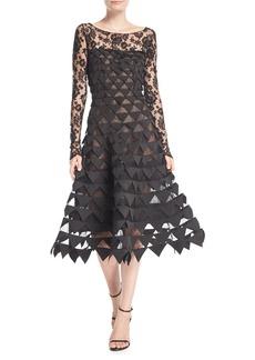 Oscar de la Renta Long-Sleeve Floral-Lace Geometric-Cutouts Illusion Cocktail Dress