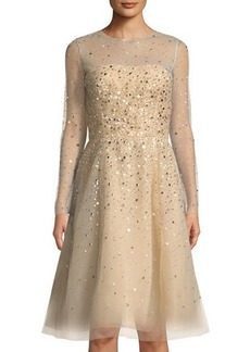 Oscar de la Renta Long-Sleeve Sequined Mesh A-line Dress