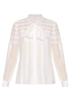 Oscar De La Renta Long-sleeved lace-trimmed silk blouse