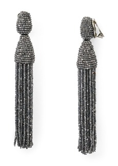 Oscar de la Renta Long Tassel Clip-On Earrings