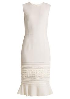 Oscar De La Renta Macramé-lace embroidered wool-blend crepe dress