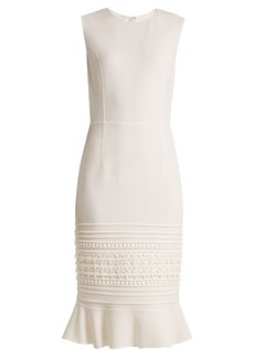 Oscar De La Renta Macramé-lace embroidered wool-blend crepe dress