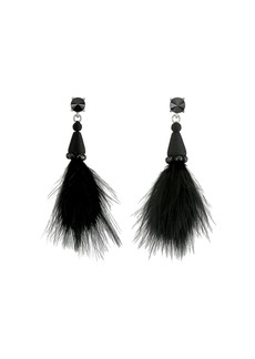 Oscar de la Renta Marabou Feather P Earrings
