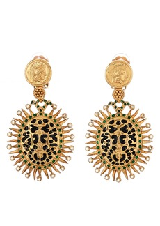 Oscar de la Renta Medallion Clip-On Drop Earrings