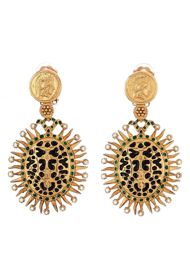 Oscar de la Renta Medallion Clip-On Drop Earrings