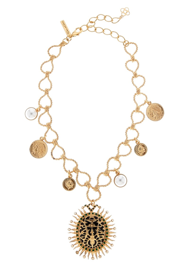 Oscar de la Renta Medallion Pendant Necklace