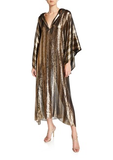 Oscar de la Renta Metallic Hooded Caftan