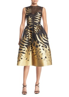 Oscar de la Renta Metallic Leaf Fil Coupe Cocktail Dress