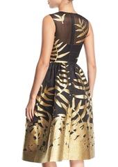 Oscar de la Renta Metallic Leaf Fil Coupe Cocktail Dress