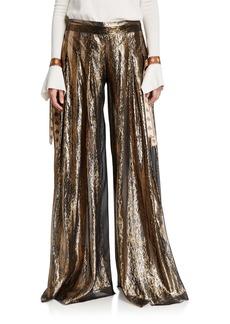Oscar de la Renta Metallic-Striped Oversized Pants