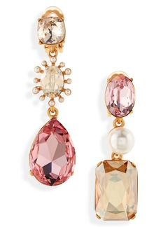 Oscar de la Renta Mismatched Clip-On Drop Earrings