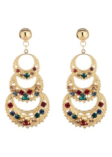 Oscar de la Renta Mixed Crystal Triple Crescent Drop Earrings