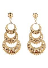 Oscar de la Renta Mixed Crystal Triple Crescent Drop Earrings