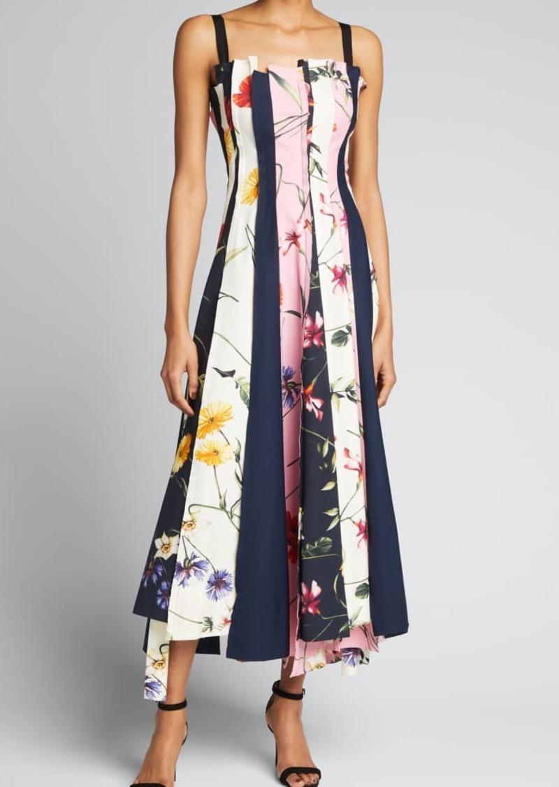 Oscar de la Renta Mixed Floral-Print Sleeveless Midi Dress