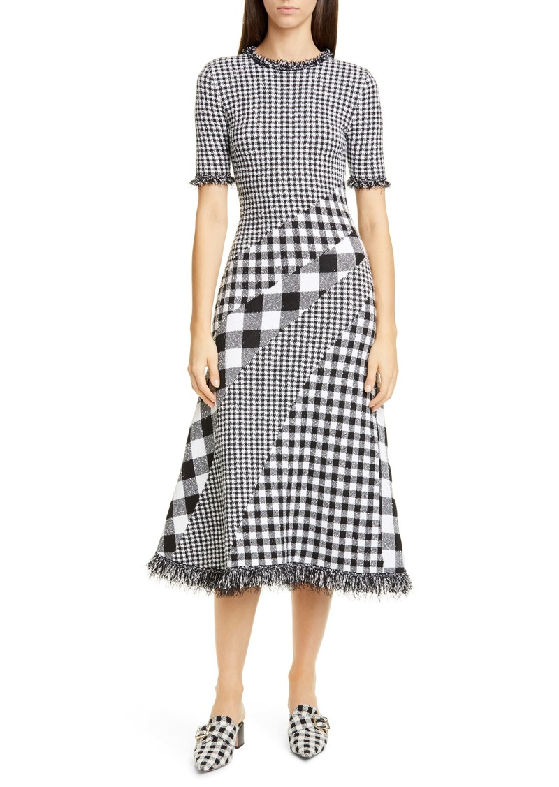 Oscar de la Renta Mixed Gingham Tweed Knit Dress