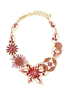 Oscar de la Renta Mixed Jeweled Flower Necklace