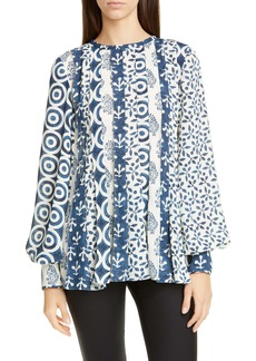 Oscar de la Renta Mixed Print Pleated Blouse