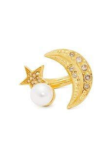 Oscar De La Renta Moon and star crystal-embellished ring