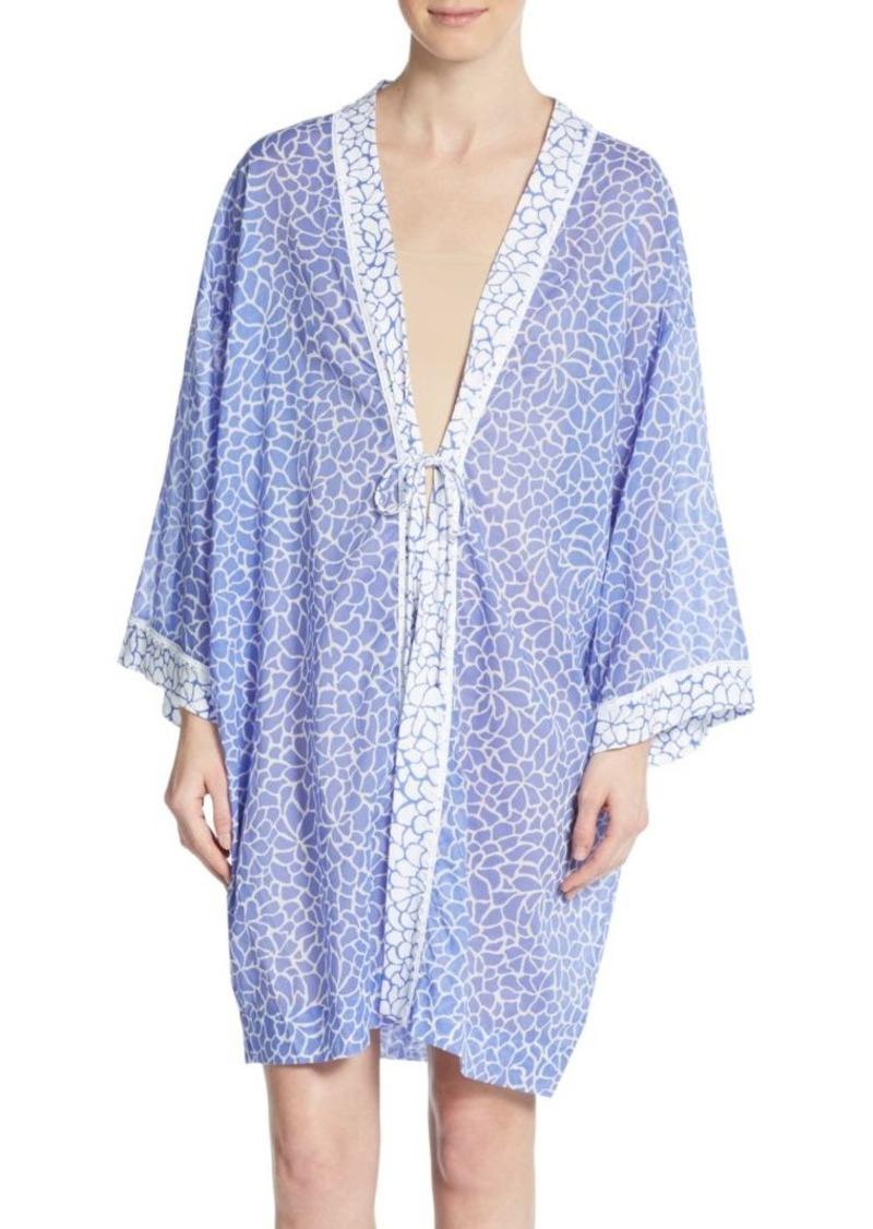 Oscar de la Renta Mosaic-Print Cotton Robe