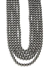 Oscar de la Renta Multi-Row Faux Black Pearl Necklace
