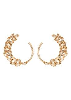 Oscar de la Renta Navette & Pavé Hoop Earrings