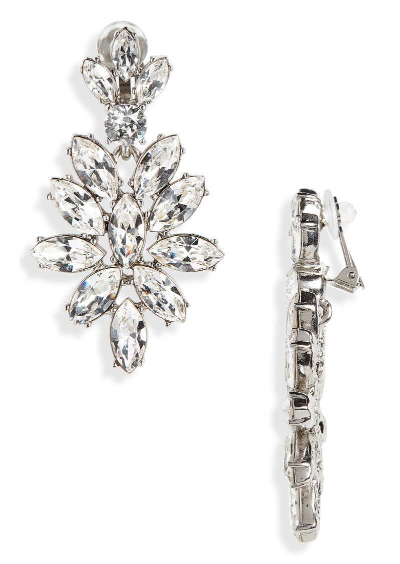 Oscar de la Renta Navette Crystal Earrings