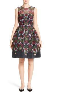Oscar de la Renta Needlepoint Fit & Flare Dress