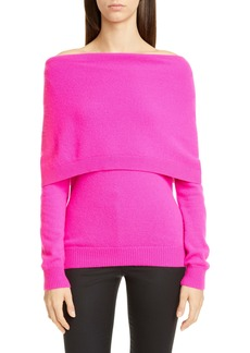 Oscar de la Renta Off the Shoulder Cashmere Sweater