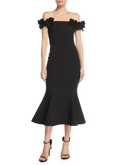 Oscar de la Renta Off-the-Shoulder Illusion Floral-Straps Trumpet Cocktail Dress