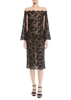 Oscar de la Renta Off-the-Shoulder Lace Cocktail Dress w/ Cape