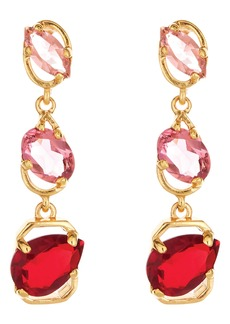 Oscar de la Renta Offset Crystal Linear Drop Earrings