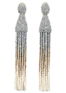 Oscar de la Renta Ombré Long Tassel Clip Earrings
