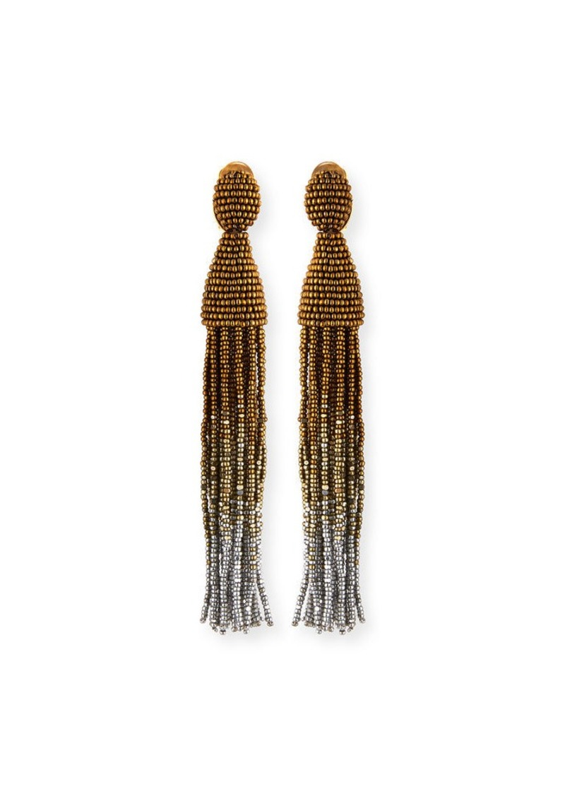 Oscar de la Renta Ombre Crystal Tassel Earrings