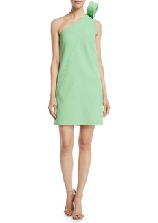 Oscar de la Renta One-Shoulder Ribbon-Detail Shift Stretch-Wool Cocktail Dress
