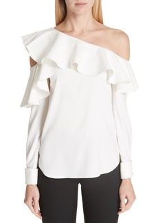 Oscar de la Renta One-Shoulder Stretch Silk Blouse