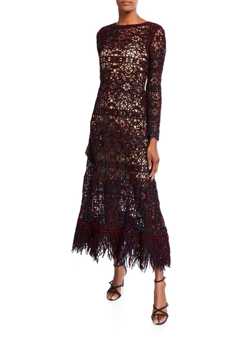 Oscar de la Renta Open-Lace Long-Sleeve Dress with Slip